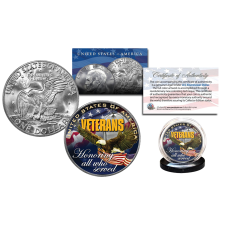 VETERANS United States Military Genuine Legal Tender IKE Eisenhower Dollar Coin