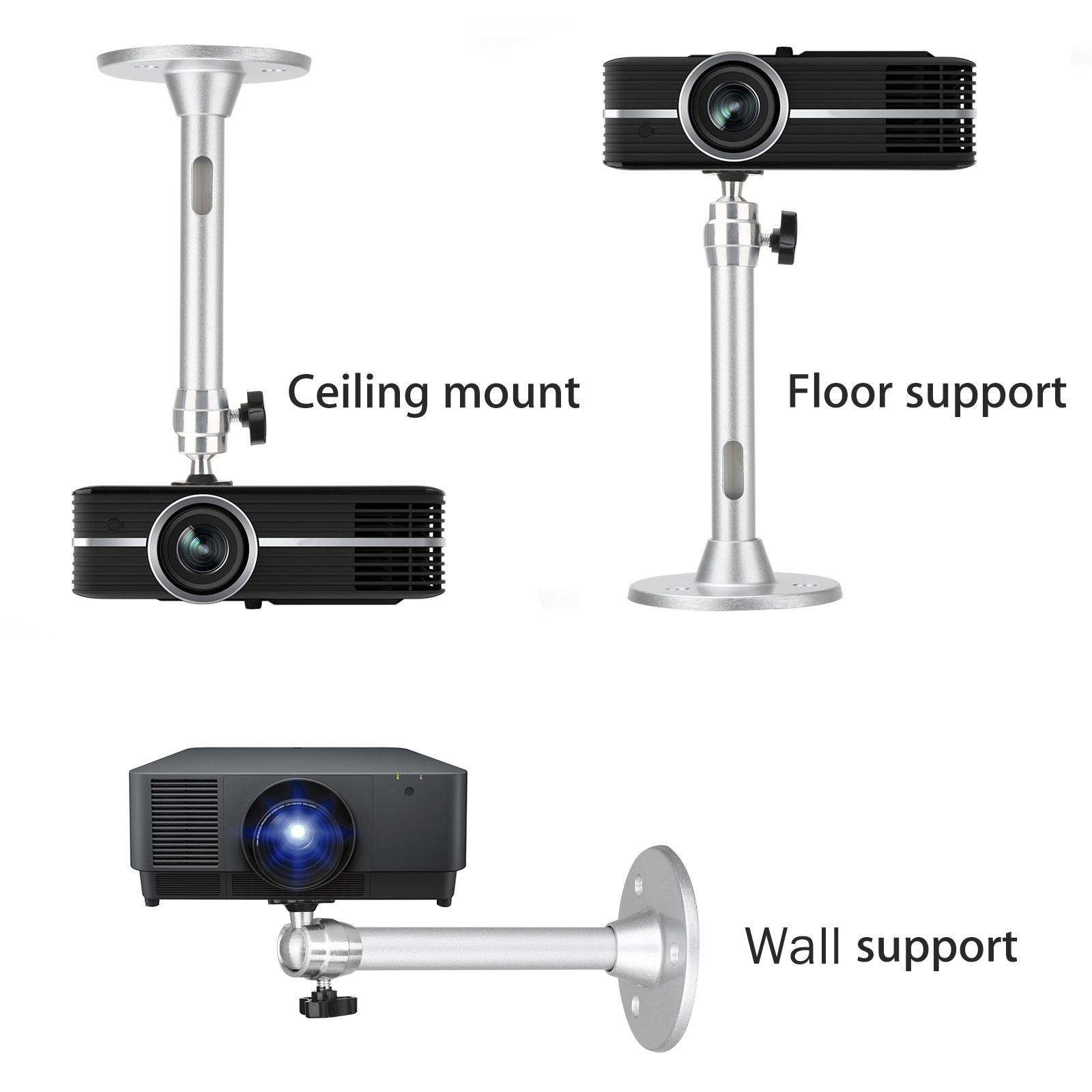 7.2 inch 18cm Mini Projector Wall Ceiling Mount 11lbs Load mounting Bracket for Mini Projector Camera 360 /° Rotating Head Adjustment Angle Silver