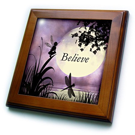 - 3dRose Believe, Fairy With Dragonflies With Moon And Purple Sky - Framed Tile, 6 by 6-inch