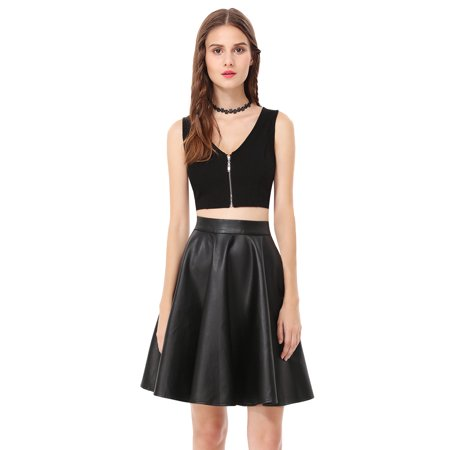 Ever-Pretty Women's Sexy V Neck Outfit Solid Crop Top High Waist Faux Leather Swing Skirt Two Piece Little Black Dresses for Women 05547 US 4