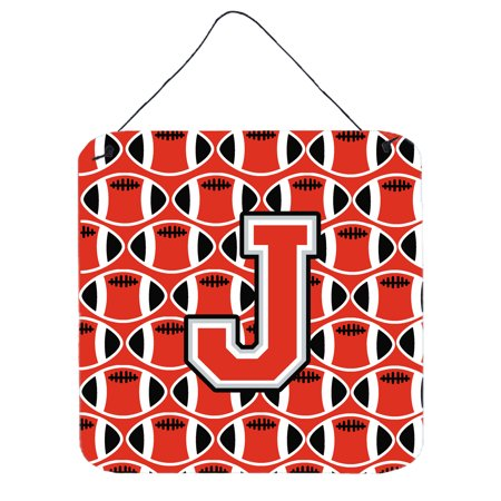 Letter J Football Scarlet And Grey Wall Or Door Hanging Prints Cj1067 Jds66