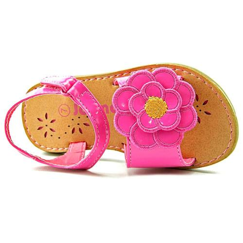 Josmo Sandal W/Flower Youth US 7 Pink Open Toe Slingback Heel