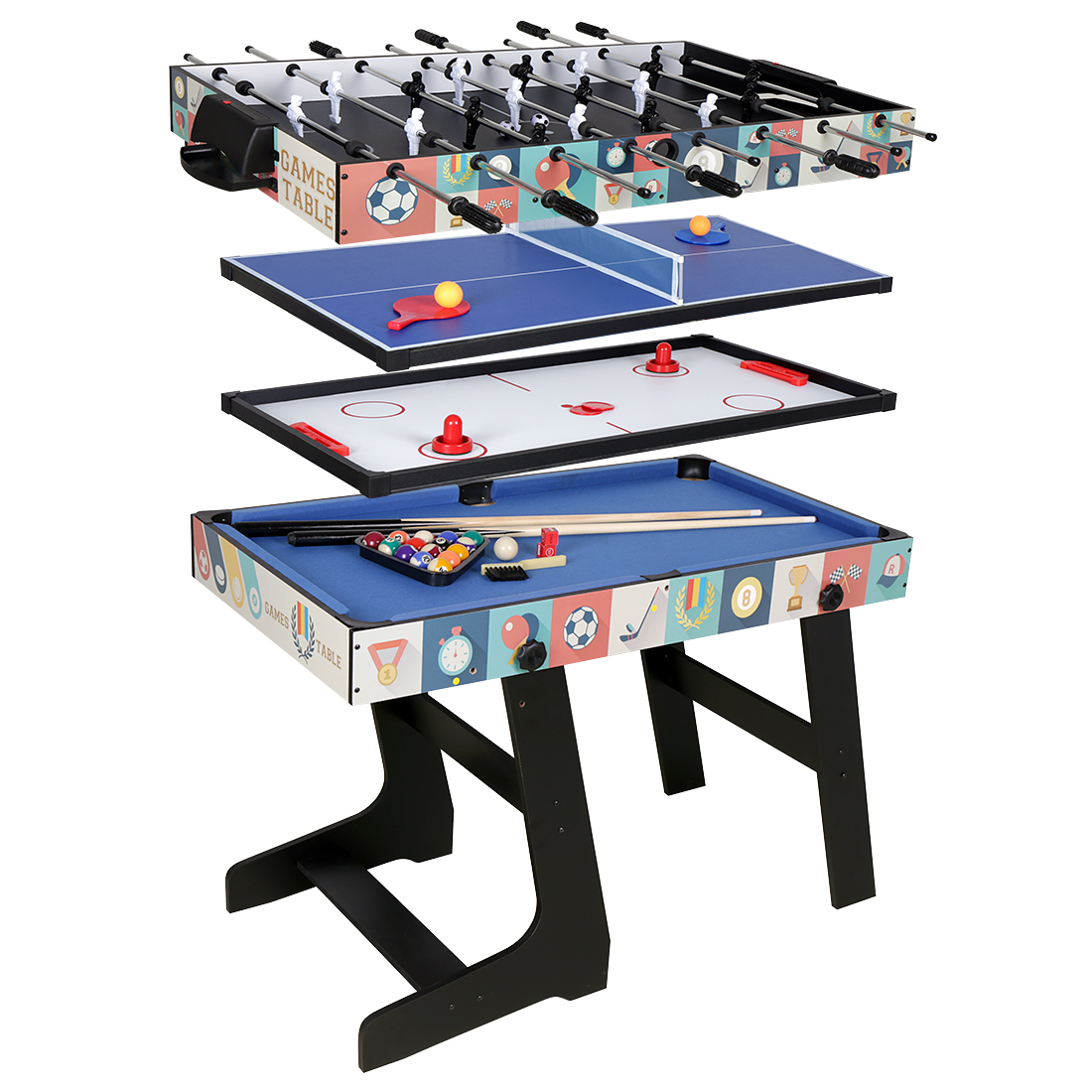 4 In 1 Folding Game Table Football/Push Hockey/Table Tennis/Pool Table