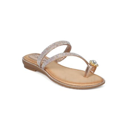 5d8cd39e743 Alrissbup - New Women Rhinestone Strappy Toe Ring Slip On Sandal - 18056 By  SBUP Collection - Walmart.com