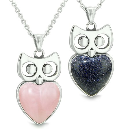 Amulets Owl Cute Hearts Love Couples Set Pink Simulated Cats Eye Blue Goldstone Pendant Necklaces