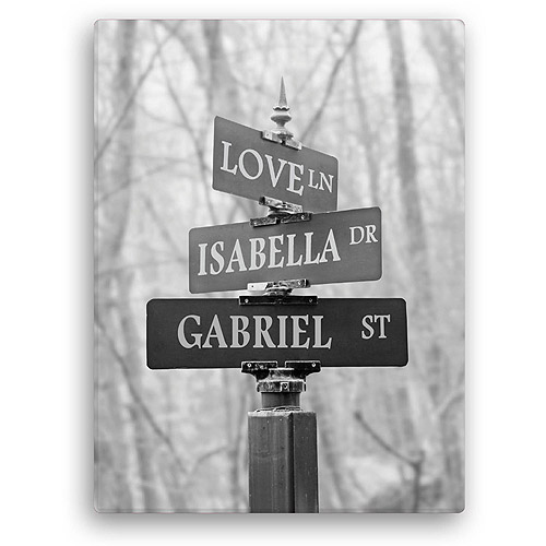 "Personalized Signs Of Love 18"" x 24"" Canvas, Black and White"