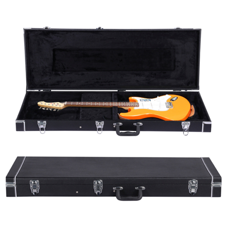 Electric Guitar Case Hard-Shell Case for Telecaster, Stratocaster Style with Lockable Latch & Storage