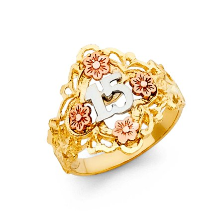 14k Tri Colored Tone Italian Gold 17mm Floral Multi Rose Flower Quinceanera 15 Anos Birthday Ring Size 5 Available All Sizes ()