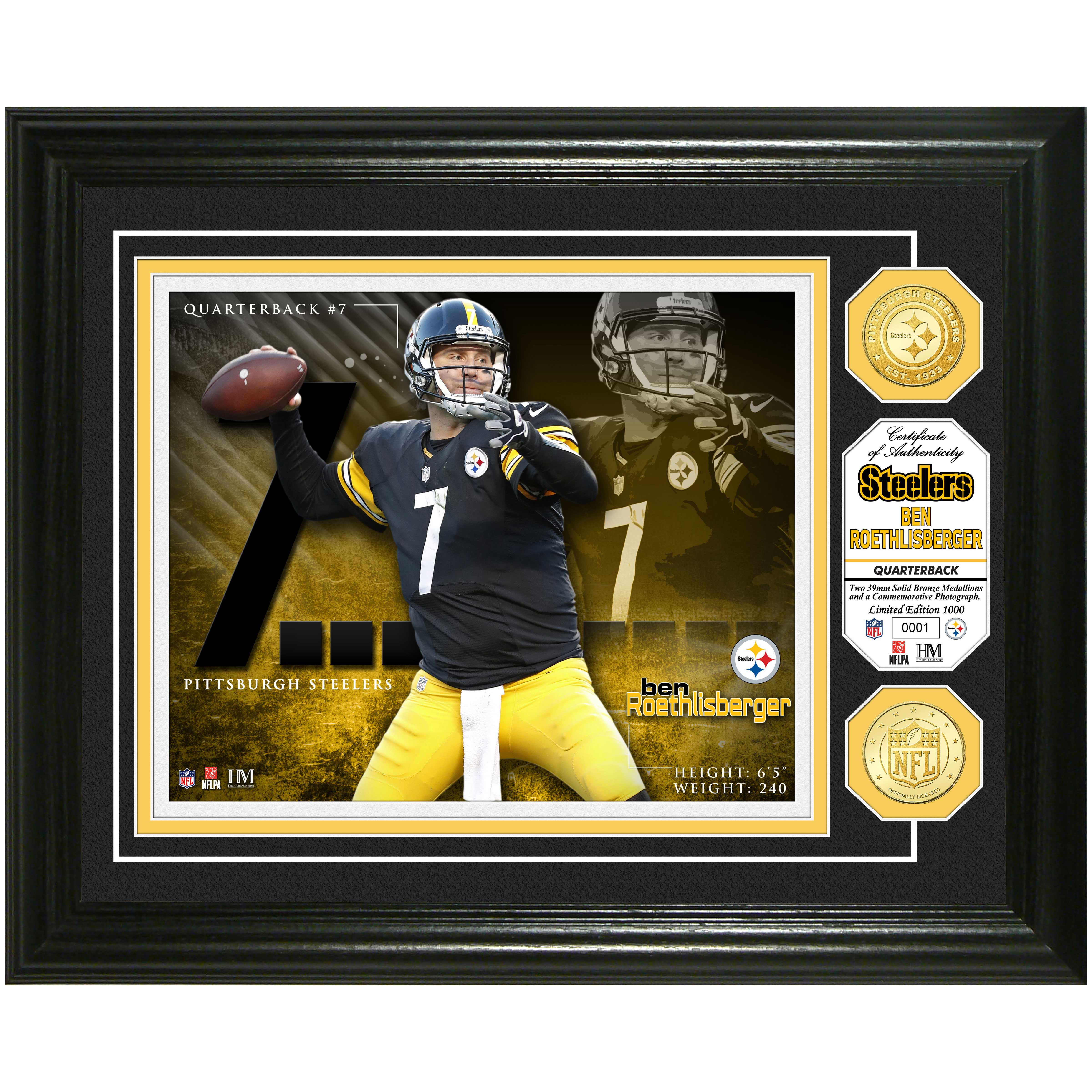 "Ben Roethlisberger Pittsburgh Steelers Highland Mint 13"" x 16"" Player Photo Mint & Coin Set - No Size"