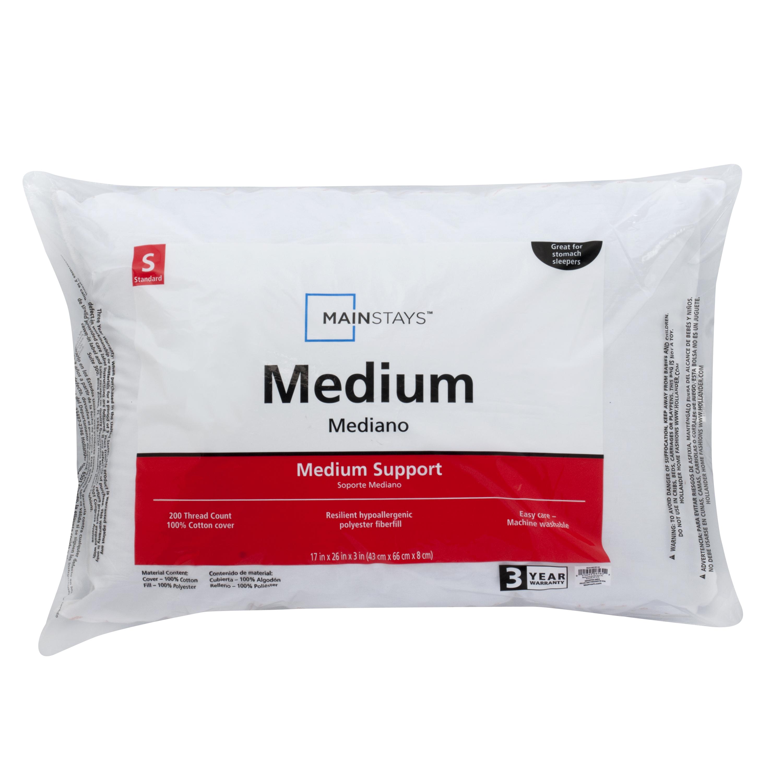 mainstays 200 thread count 100 cotton medium pillow in multiple sizes