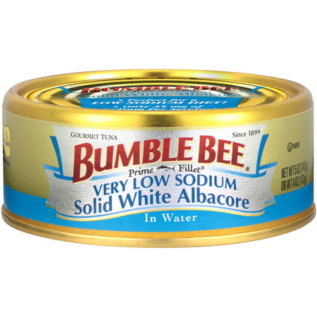 (4 Pack) Bumble Bee Very Low Sodium Solid White Albacore Tuna in Water, 5 oz