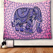 """GustaveDesign Colored Printed Elephant Tapestry Decor 57.09"""" * 78.74"""" Bohemian Bedspread Blanket Bedroom Apartment Psychedelic Animal Wall Hanging """"Style #A"""""""