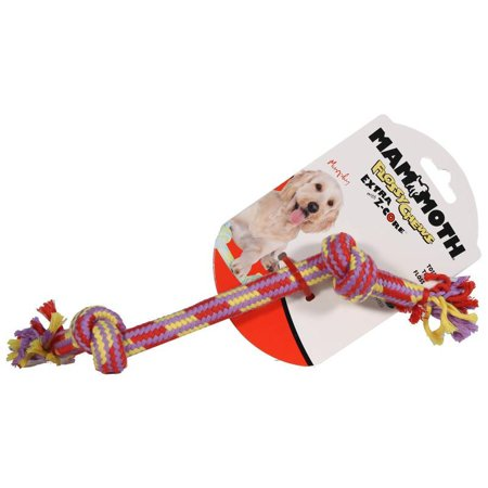 Mammoth Leather Bones - Mammoth Pet Products-Extra 2 Knot Bone With Z-core Dog Toy- Multicolored 9 Inch/small