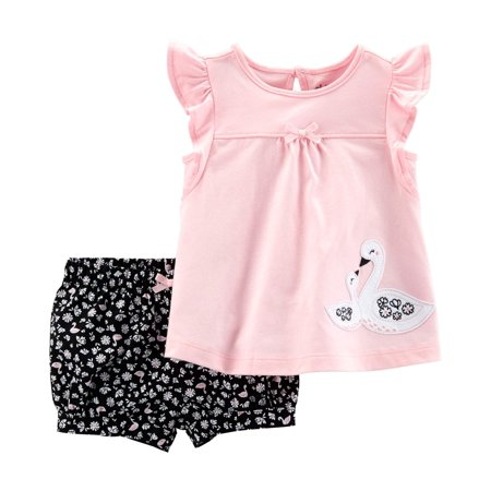 Nike Kids Girls Sets - Short Sleeve Top and Shorts Outfit, 2 piece set (Baby Girls)