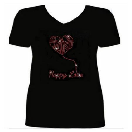 Bling Valentines Day Rhinestone Womens T Shirt Happy Love VAL-206-SV -