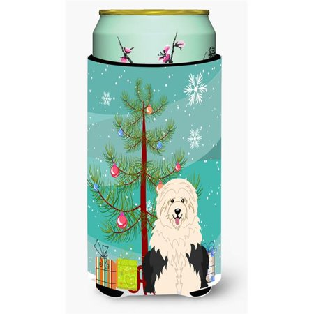 Merry Christmas Tree Old English Sheepdog Tall Boy Beverage Insulator Hugger - image 1 de 1