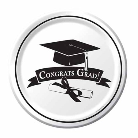 Graduation 'School Colors White' Large Paper Plates (18ct)