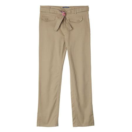 Cherokee Girls School Uniform Belted Stretch Twill Pants (Little Girls & Big Girls) (Cherokee Womens Drawstring Pants)