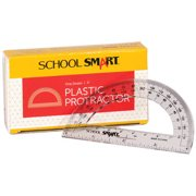 """School Smart 0 - 180 Degrees Protractor with 4"""" Ruler, Plastic, Clear, 12pk"""