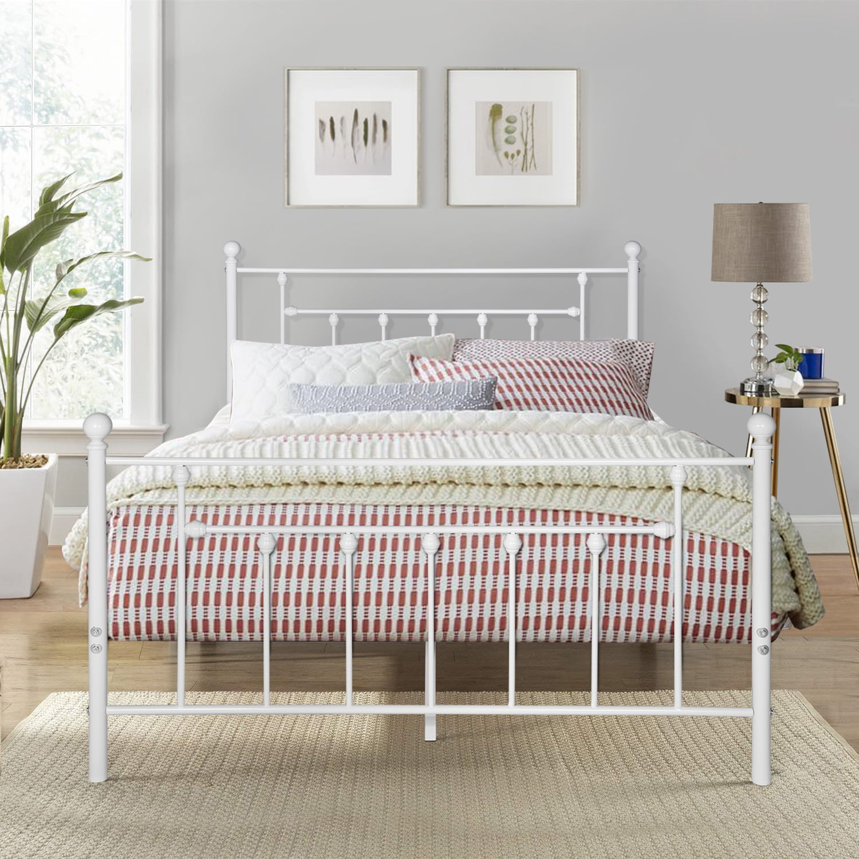 Victorian Style Queen Size Metal Bed Frame Metal Platform Bed Frame With Headboard White Walmart Com Walmart Com