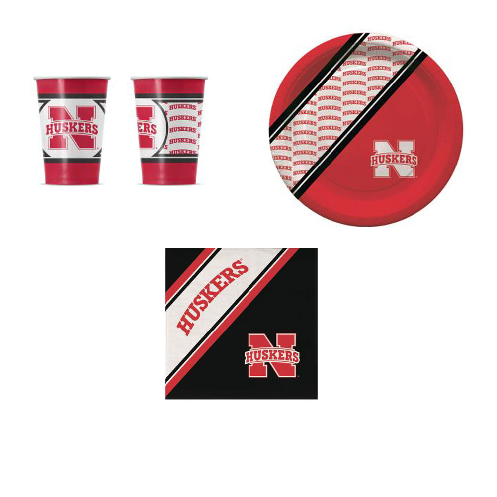 GameDay Essential Nebraska Cornhuskers 20 Pc Disposable Paper Plates And 20 Pc Disposable Paper Cups With 20 Pc Disposable Napkins