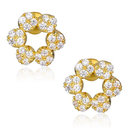 Flower W. Clear Round Cubic Zirconia Stud  Earrings for Women Girls White Gold