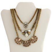Gold-Tone Pink Fashion Trio Statement Necklace, Convertible 3-in-1 Necklace