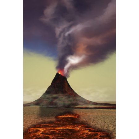Hot Stem (A newly formed volcano smokes with hot steam Canvas Art - Corey FordStocktrek Images (24 x 35) )