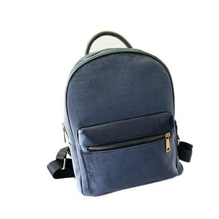 VoberryR Women Gold Velvet Small Rucksack Backpack School Book Shoulder Bag