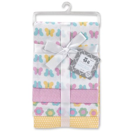 Cribmates 4-Pack Flannel Receiving Blankets - Butterfly