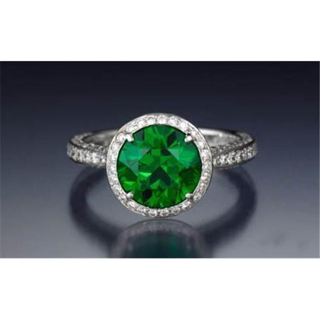 Harry Chad Enterprises 37207 8.5 CT Round Cut Emerald with Diamond Engagement Ring - 14K Gold