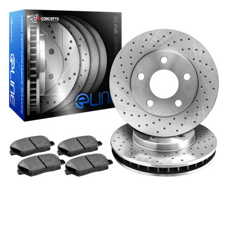 2001 2002 Acura MDX Rear eLine Drilled Brake Disc Rotors & Ceramic Brake Pads
