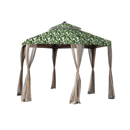 Garden Winds Replacement Canopy Top Cover for the Hexagon Solar Gazebo - Standard 350 - Palm