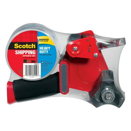 Scotch Heavy Duty Shipping & Packaging Tape Dispenser, 1.88 in. x 60 yd. per Roll, Clear, 1 Roll/Pack (Easy Griptape Dispenser)