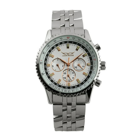 Six Hands Silver Self-winding Mens Watch Automatic Stainless Steel Case White