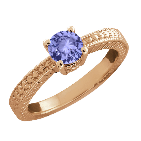 0.50 Ct Round Blue Tanzanite Gold Plated Sterling Silver Ring