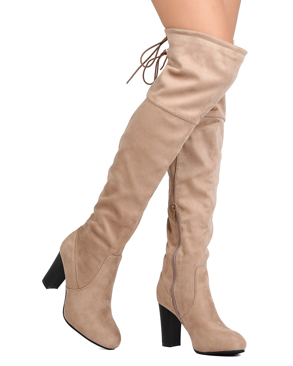 Nature Breeze FI83 Women Faux Suede Over The Knee Drawstring Chunky Heel Boot