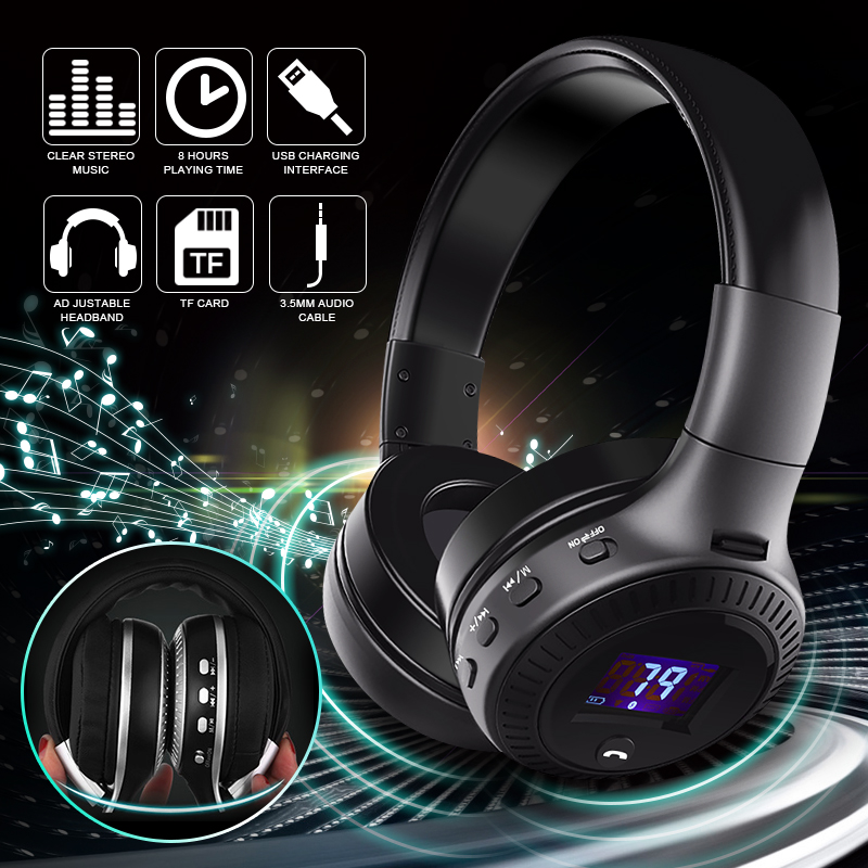 ELEGIANT Bluetooth Wireless Headphones Foldable Headset with Mic HiFi Stereo Adjustable Headsets Microphone Audio Cable for Phone TV Computer