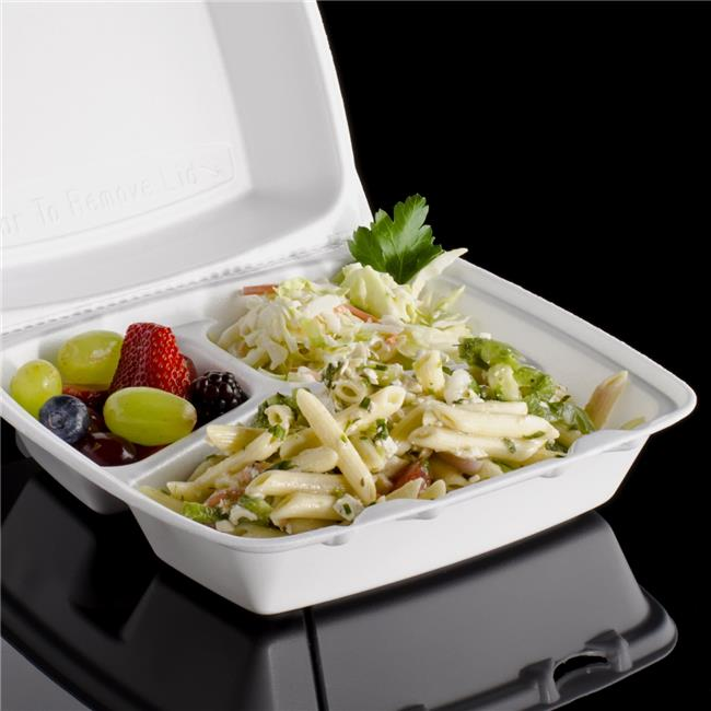 Dart 85HT3R CPC 3-Compartment Container White Removable Foam Lid - Medium, Case of 200
