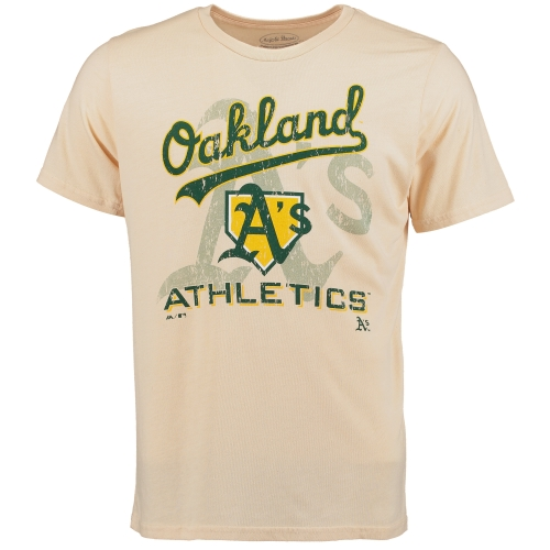 Oakland Athletics Majestic Threads Tri-Blend Established Stone T-Shirt - Cream