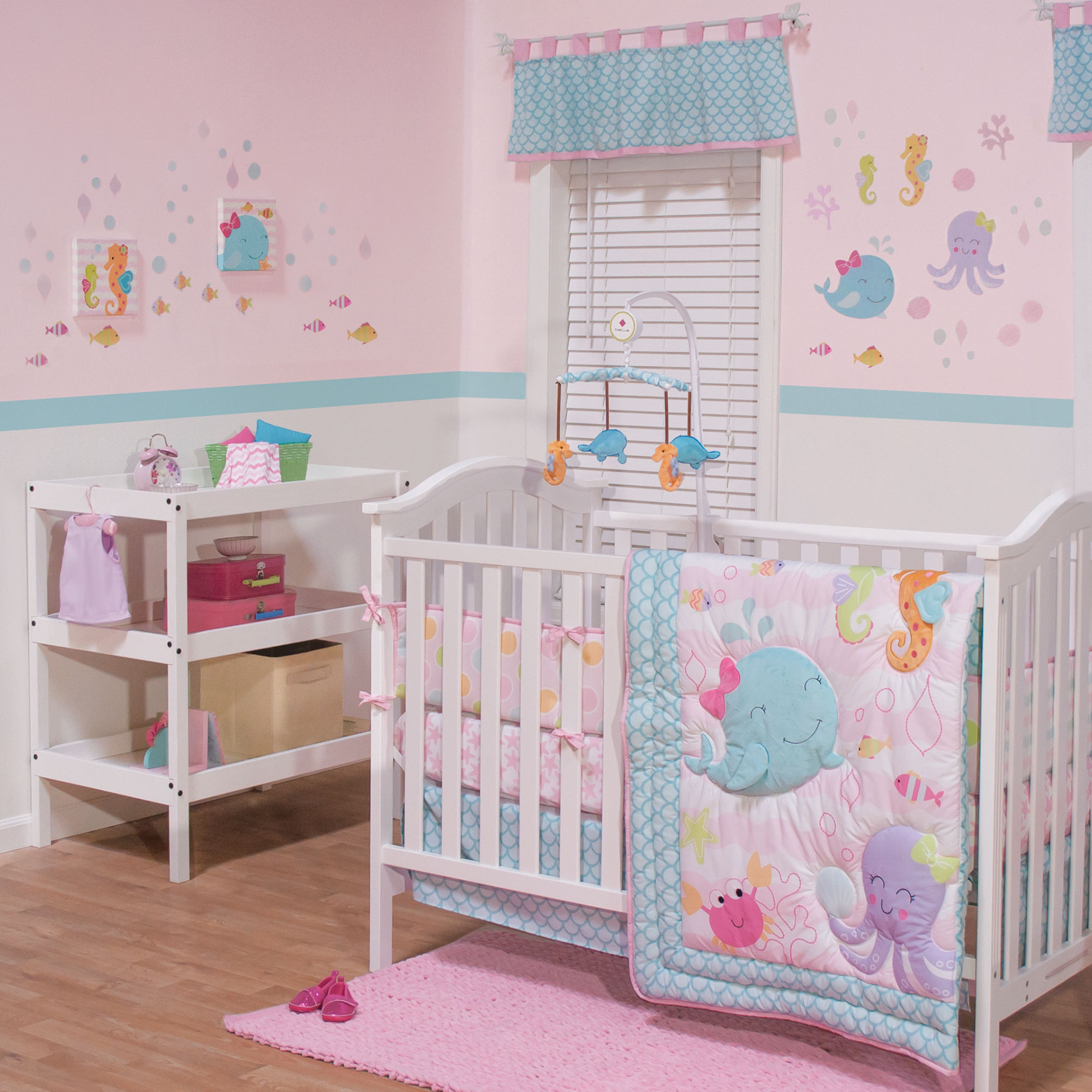Belle Baby Girl Crib Bedding Set - Pink and Aqua Sealife Theme - Sea Sweeties 4 Piece Set with Bumper