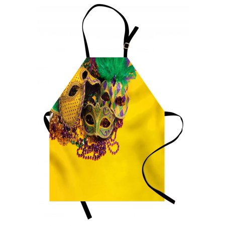 Jetboil Group Cooking System - Mardi Gras Apron Festive and Colorful Group of Venetian Carnival Masks and Accessories, Unisex Kitchen Bib Apron with Adjustable Neck for Cooking Baking Gardening, Yellow Purple Green, by Ambesonne