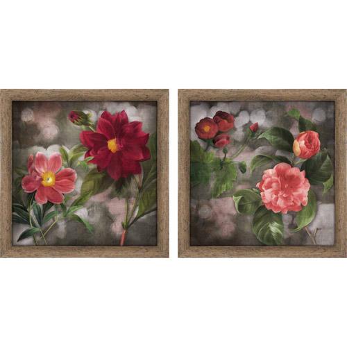 Dark Pink Roses Floral Wall Art, Set of 2