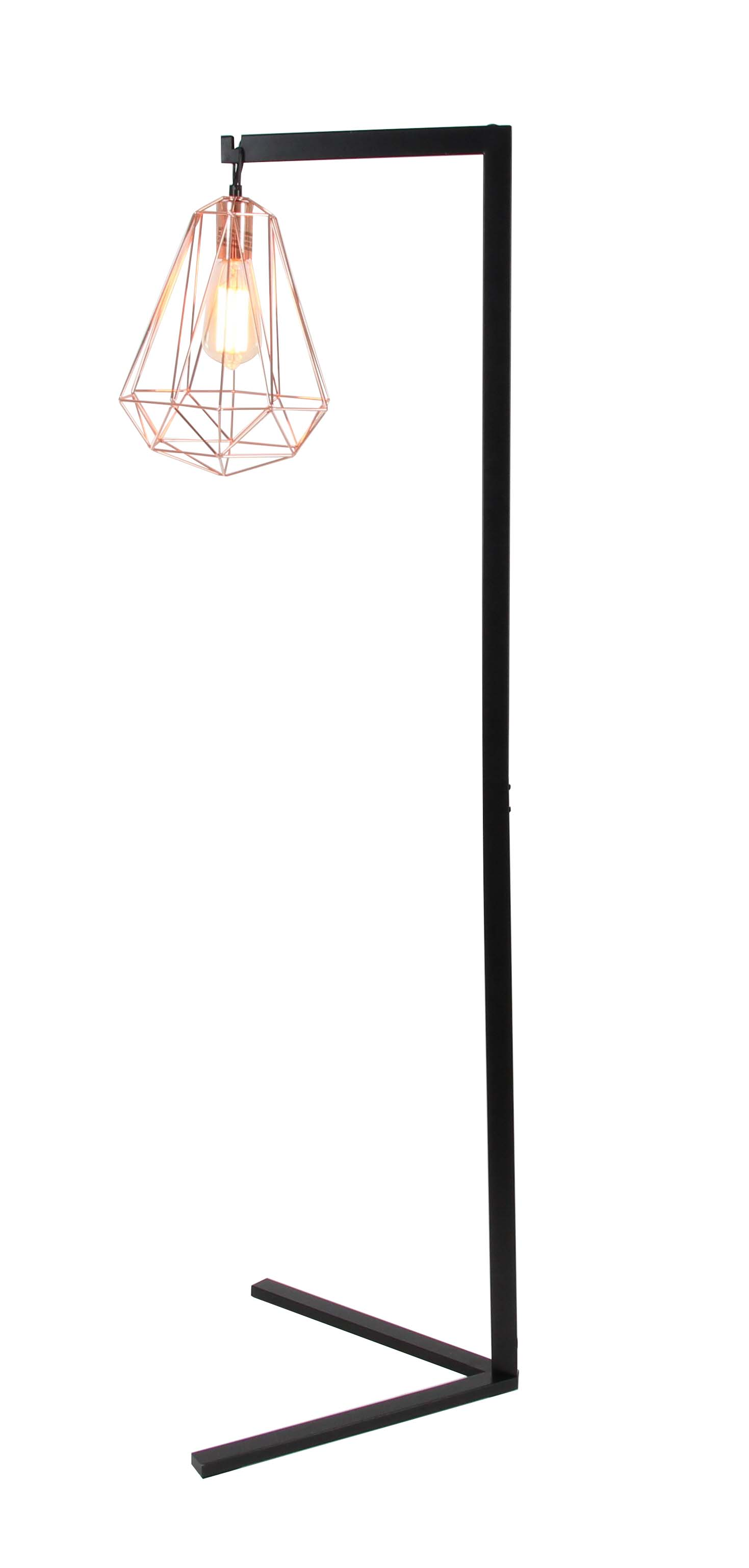 Decmode Modern 55 Inch Black and Rose Gold Iron Wire Diamond Prism Caged Floor Lamp, Black by DecMode