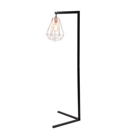 Decmode Modern 55 Inch Black And Rose Gold Iron Wire Diamond Prism Caged Floor Lamp  Black
