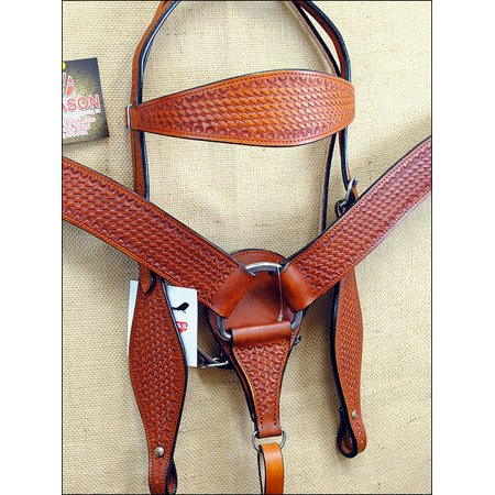 HILASON WESTERN TOOL LEATHER HORSE BRIDLE HEADSTALL BREAST COLLAR SADDLE TAN S19