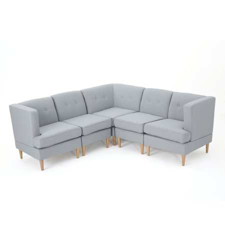 Miraculous Milltown Mid Century Modern Fabric 5 Piece Sectional Sofa Set Light Grey Caraccident5 Cool Chair Designs And Ideas Caraccident5Info