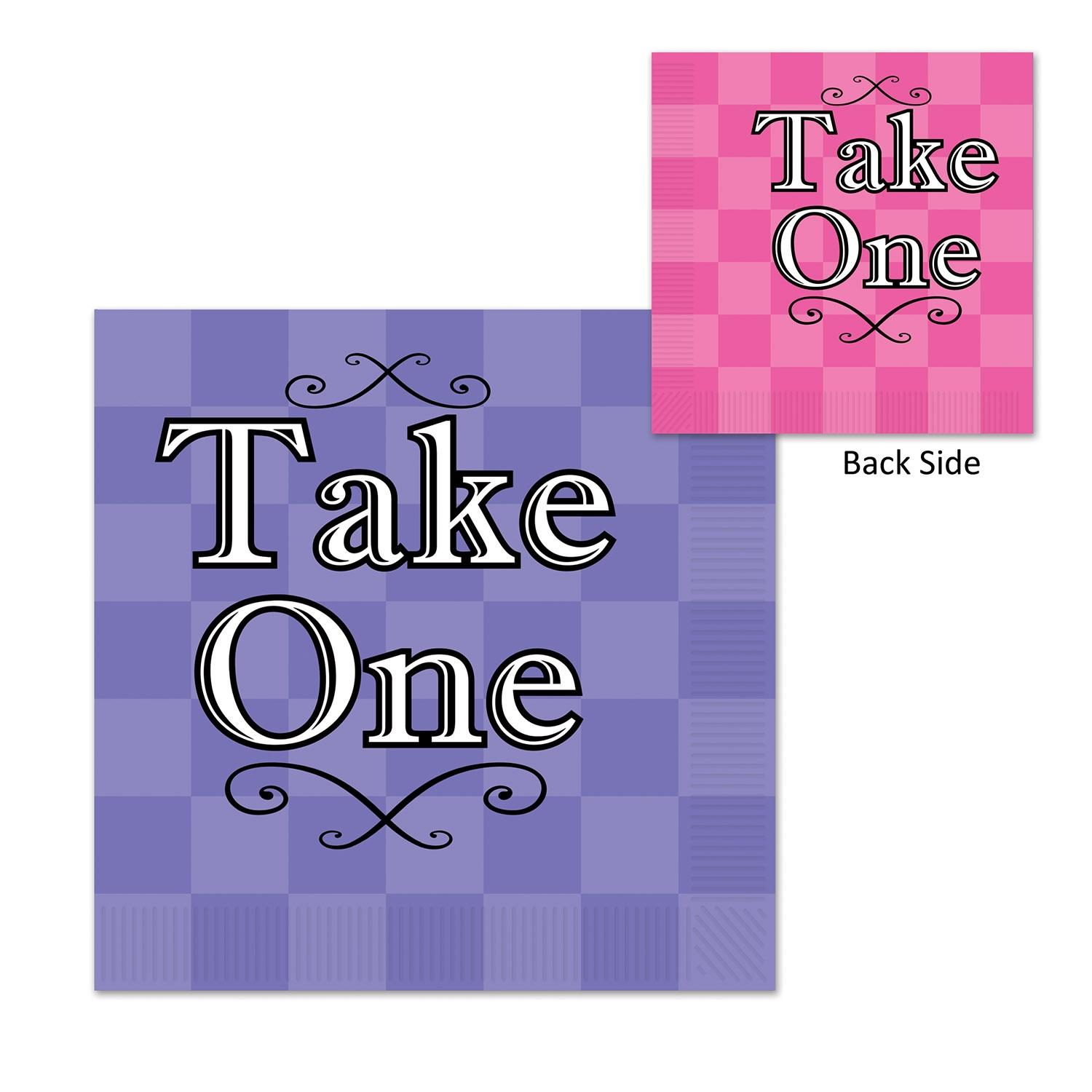 "Club Pack of 192 Decorative Two-Ply Alice In Wonderland ""Take One"" Checkered Napkins"