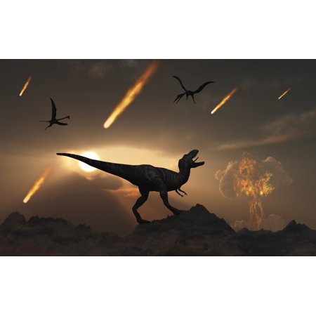 Asteroid Halloween Day (The last days of dinosaurs during the Cretaceous Period caused by a giant asteroid impact at Chicxulub off the coast of Mexico Poster)