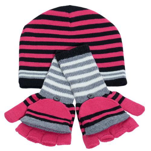 Polar Wear Girls Hot Pink Black Stripe Hat Convertible Gloves Set